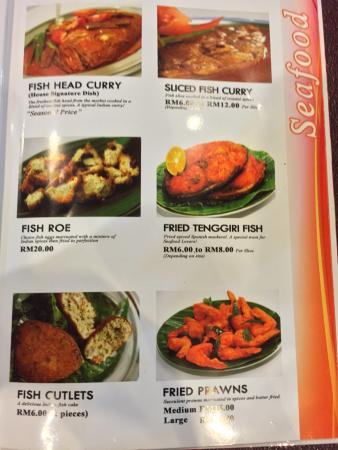 Jothy's Fish Head Curry and Banana Leaf Restaurant: A page of the menu