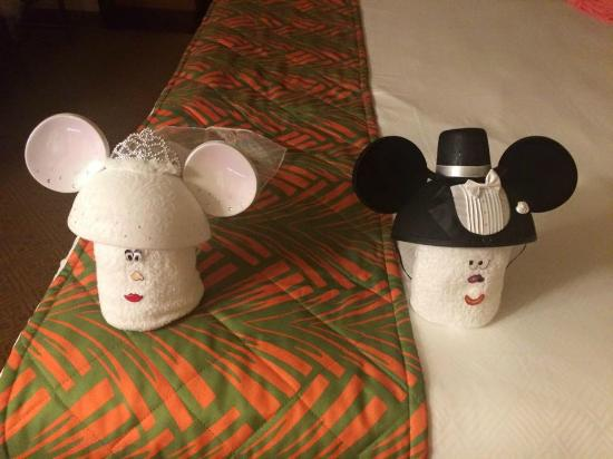 new year card from mickey and disneys caribbean beach resort bride groom towel pets