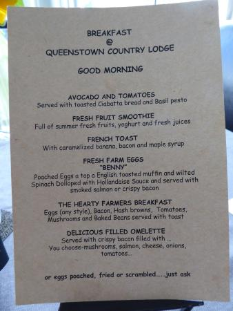 Queenstown Country Lodge: Breakfast Menu