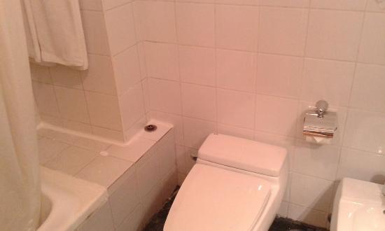 Ramada Hotel Kuwait: el baño estama sucio, viejo y mal acabado, lleno de hongos por la humedad.