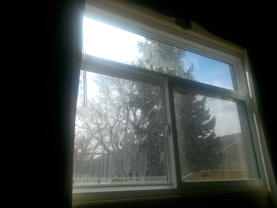 Econo Lodge Taber: filthy window from the outside.