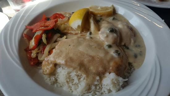 The Villa at Palmer Lake: Chicken in lemon caper sauce. Sauce was not very good and chicken was dry and rubbery.