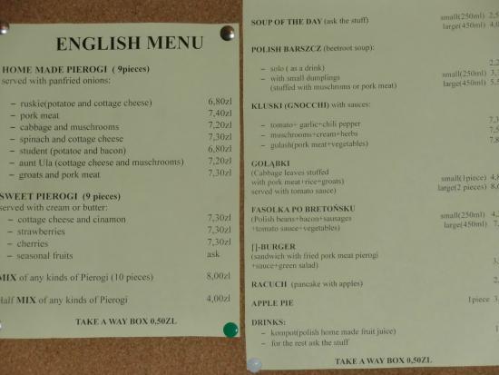 Przystanek Pierogarnia: L'economico menu'