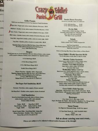 Crazy Eddie's Panini Grill: Menu options