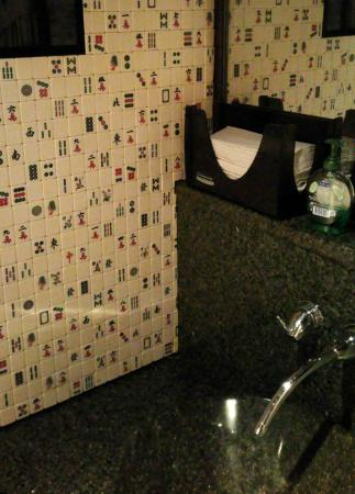 Fusha West : Ladies room wall is tiled with Mah Jong tiles!