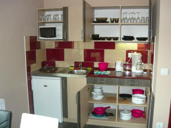 Erika Pension & Apartments: Well-equipped kitchen