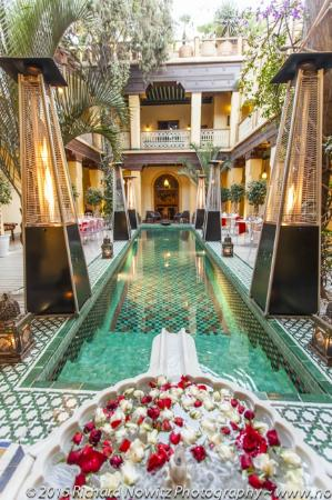 Riyad Al Moussika: Fresh flowers are put into the fountain of the courtyard every day