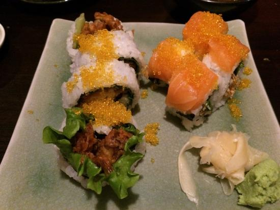 Spider roll and salmon roll at Fuki-Sushi