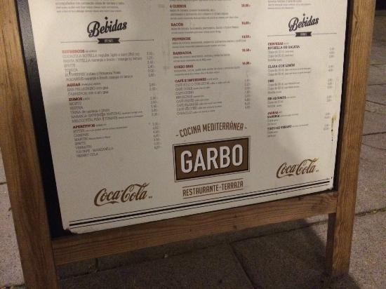 Garbo Ristorante : el menu...