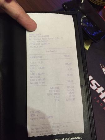 Ticket, very good prices ! - Picture of Sushi Train RD