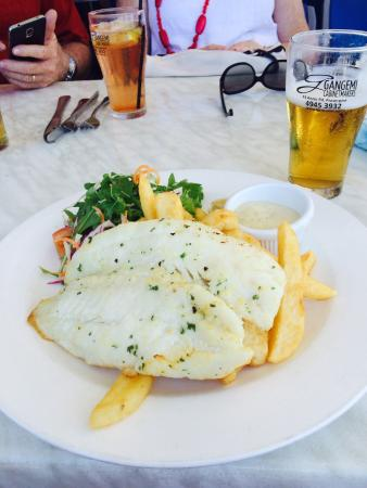 Grilled fish with salad & chips