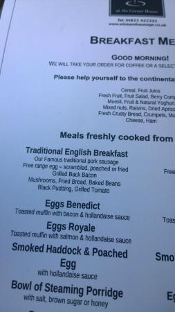 The Corner House Hotel: Breakfast menu
