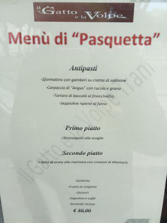 Menù Pasquetta 2015 Picture Of Il Gatto E La Volpe Trani