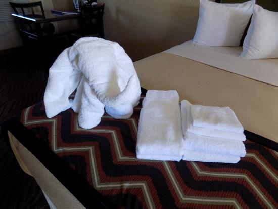 Carlton Inn Midway: The towel elephant that welcomed us to our room