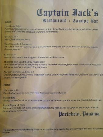Captain Jack's Hostel: Regular menu 2/6