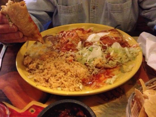 Los Corrales: 3 item combo: taco, relleno, tamale, w/beans & rice