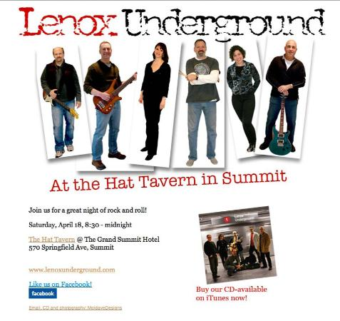 The HAT Tavern: Lenox Underground Returns April 18 at 8:30 PM