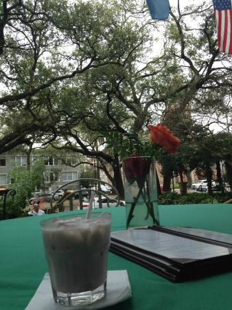 Columns Hotel: A drink of the porch of an elegant mansion!