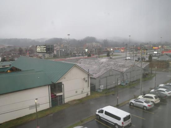 Super 8 Pigeon Forge Near The Convention Center: View of Pigeon Forge from our hotel room on a foggy morning