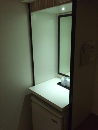 Hostel 1632: 部屋の鏡と冷蔵庫
