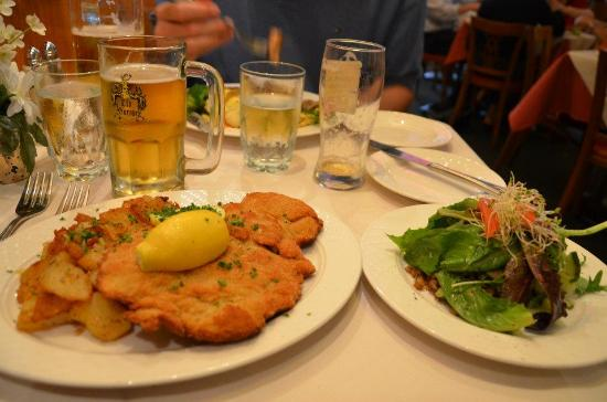 Old Europe Restaurant : schnitzel with potatoes and side salad..my favorite