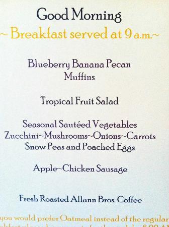 McCall House : Breakfast menu