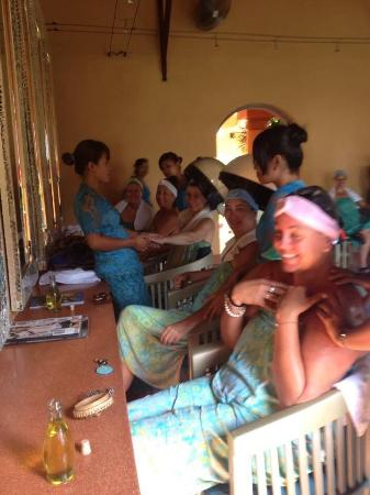 Bodyworks: All the girls having a hair treatment and blowdry on the last day lots of fun.