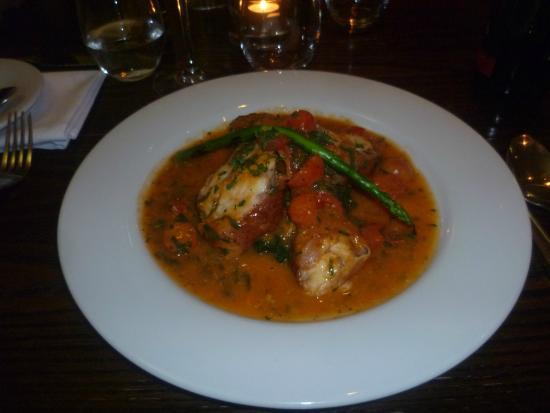 Primo: Monk fish with pancetta and asparagus