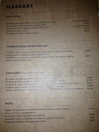 Carta del Restaurante Massart (1/2)