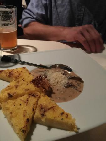 Bella Aquila : Grilled Polenta with Sherried Cream Sauce over Fungi