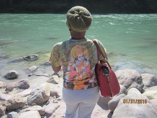 on the beach Ganga at Vashishta Gufa