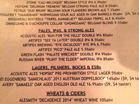 Encinitas Ale House: The Beer Menu During our Visit
