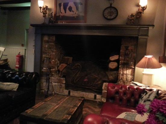 The Ilchester Arms Hotel Restaurant: the fireplace