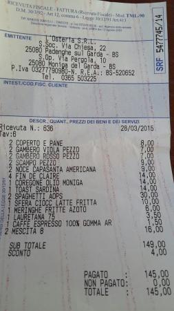 Moniga del Garda, Italy: Conto di Sabato 28 Marzo: notato solo oggi, si sono dimenticati di inserire la bottiglia di spum