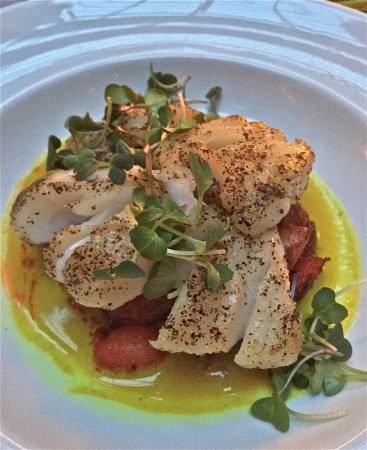 Brix & Mortar Restaurant : Ling cod sauteed in curry with small potatoes entree