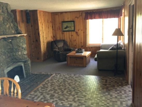 Tenstrike, MN : Cabin 8 has an awesome fireplace area, and a large family area.