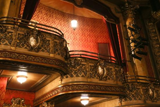Inside the Winter Garden theatre, looking up at one of the boxes ...