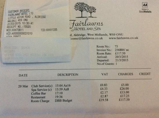 fairlawns hotel and spa bill