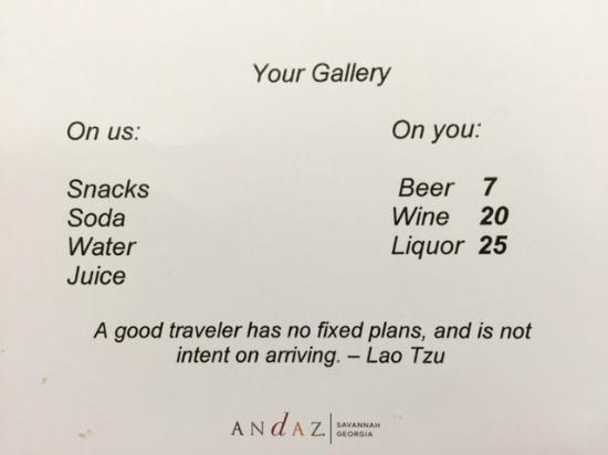 Andaz Savannah: Mini-bar Menu - prices