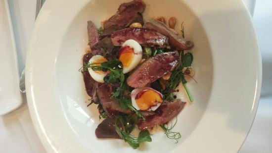 Kathton House: Pigeon breast salad with quail's eggs