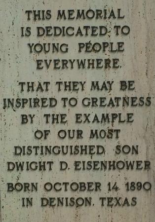 Eisenhower Birthplace State Historical Park: Inscription on the bronze of Eisenhower out in the gardens.