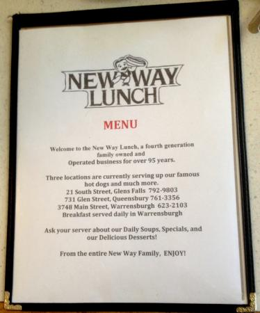 New Way Lunch (Warrensburg, NY) Menu Cover