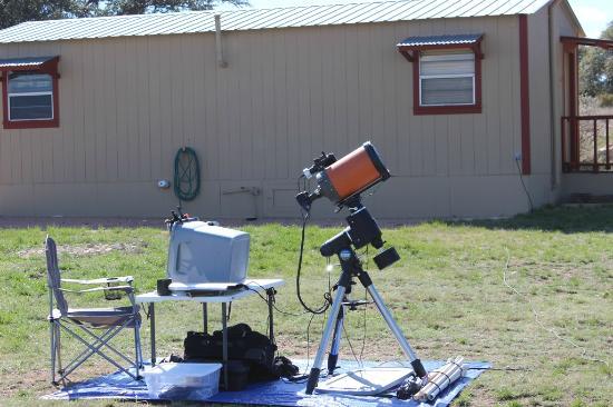 X Bar Ranch: Astrophotography Setup behind cabin.