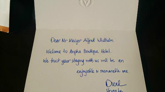 Handwritten Welcome Letter  Picture Of Anpha Boutique Hotel Ho