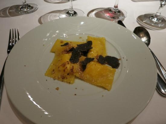 Black truffles on ravioli