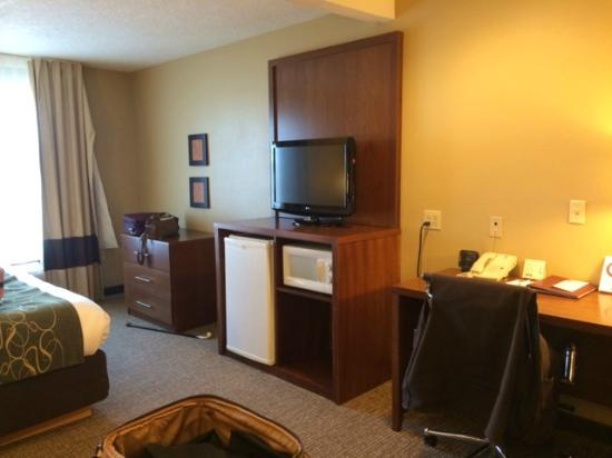 Comfort Suites Airport: TV and Desk areas