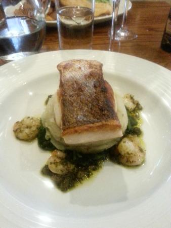 The Tannin Level: Hake with King Prawns on a bed of Thyme Mash and Spinach