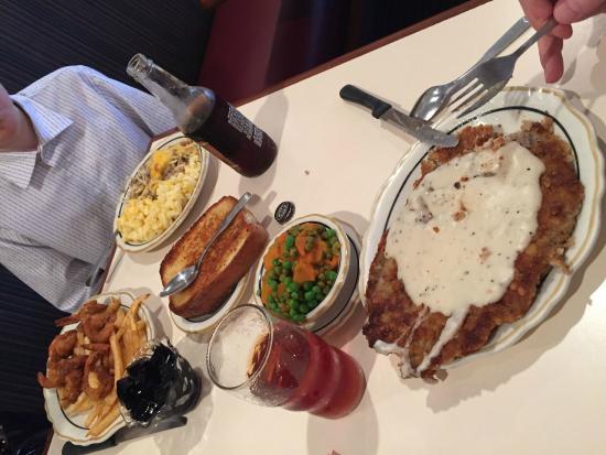 Cleburne Cafeteria: Chicken Fried Steak (f), Fried Shrimp, mac & cheese (b)