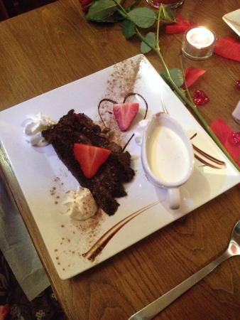 The Plough Inn: Chocolate fudge cake on Valentine's