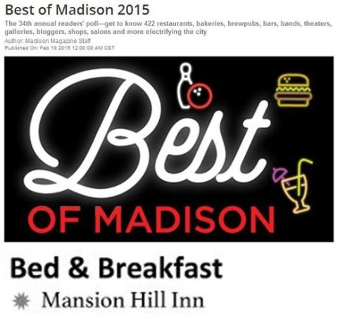 Mansion Hill Inn: Awards